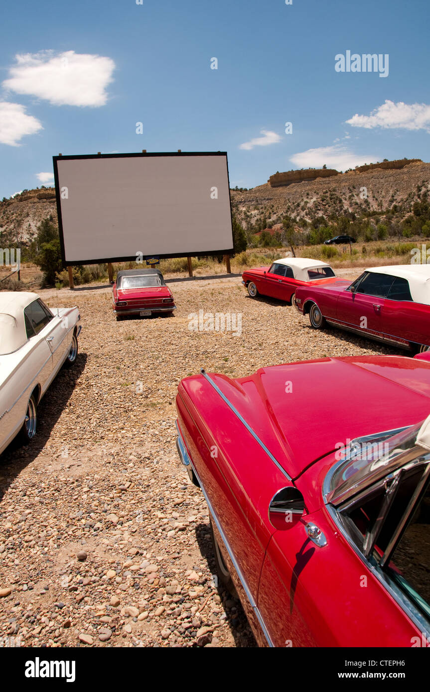 USA Utah Escalante, drive-in movie with historic convertibles at the nostalgic Shooting Star Drive-In lodging. - Stock Image