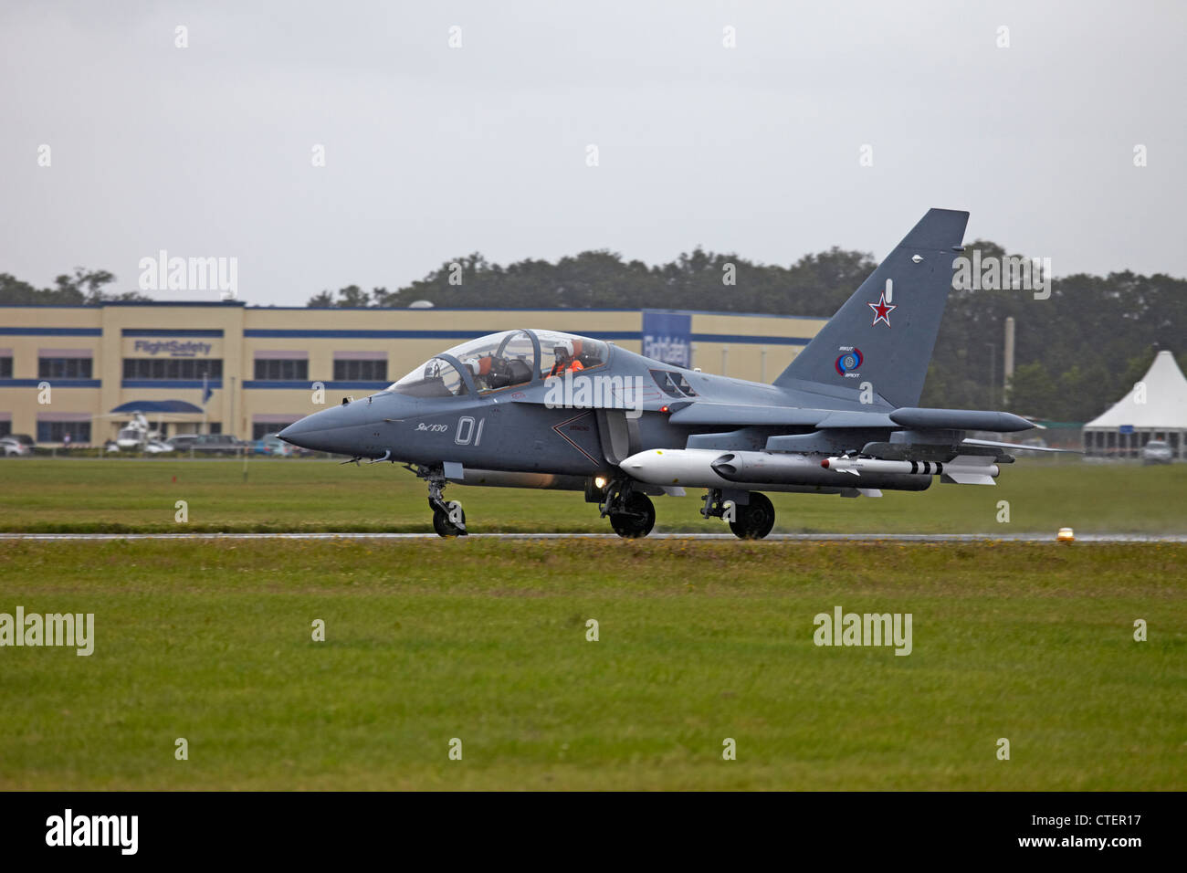 Farnborough International Airshow Irkut Yakovlev Yak 130 taking off - Stock Image