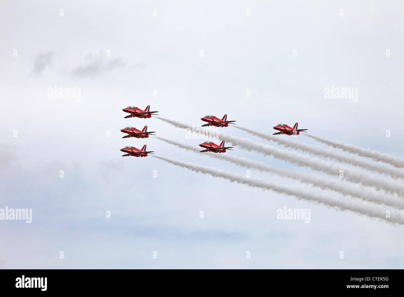 Farnborough International Airshow RAF Red Arrows BAE Systems Hawk T1 s - Stock Image