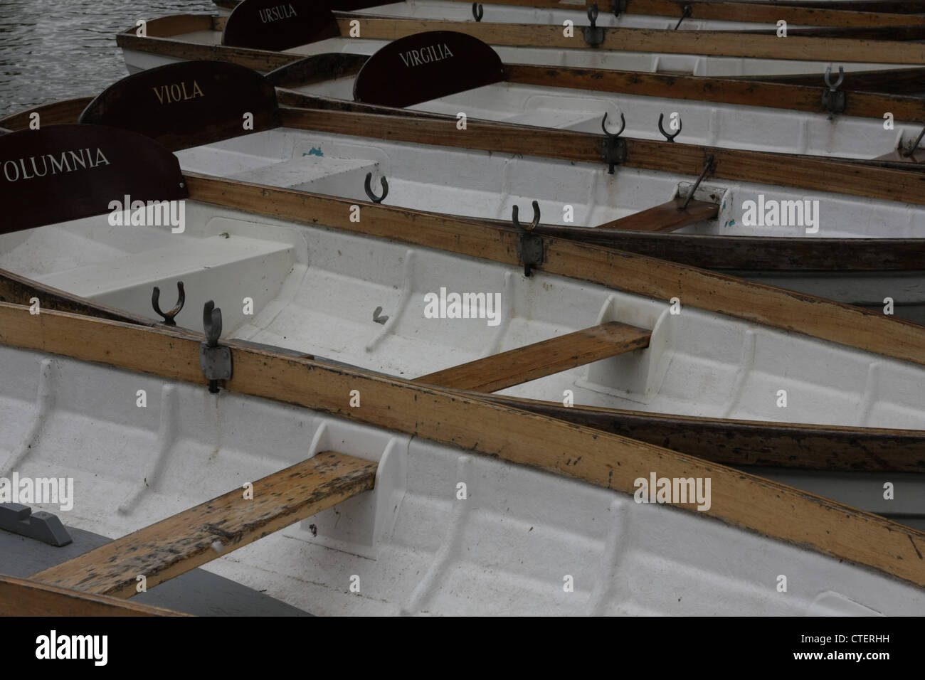Cluster of Rowing Boats - Stock Image