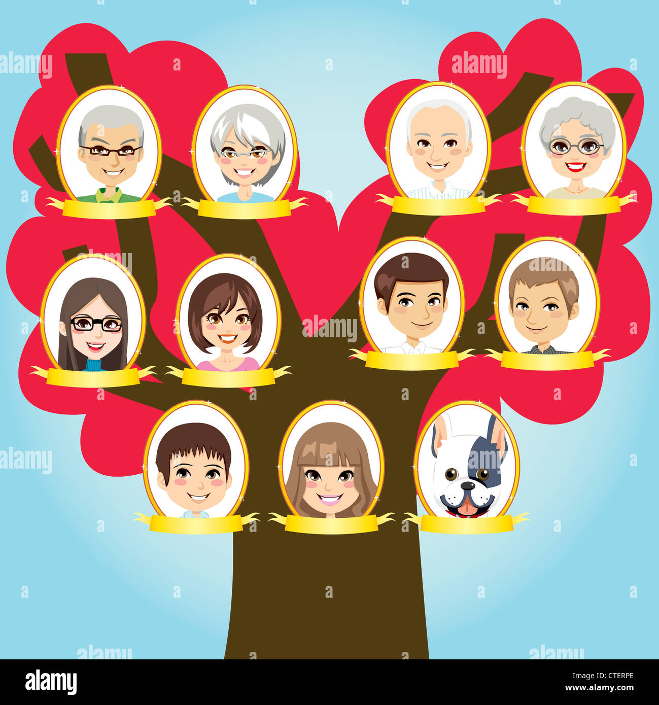 Big family three generations tree from grandparents to grandchildren and pet - Stock Image