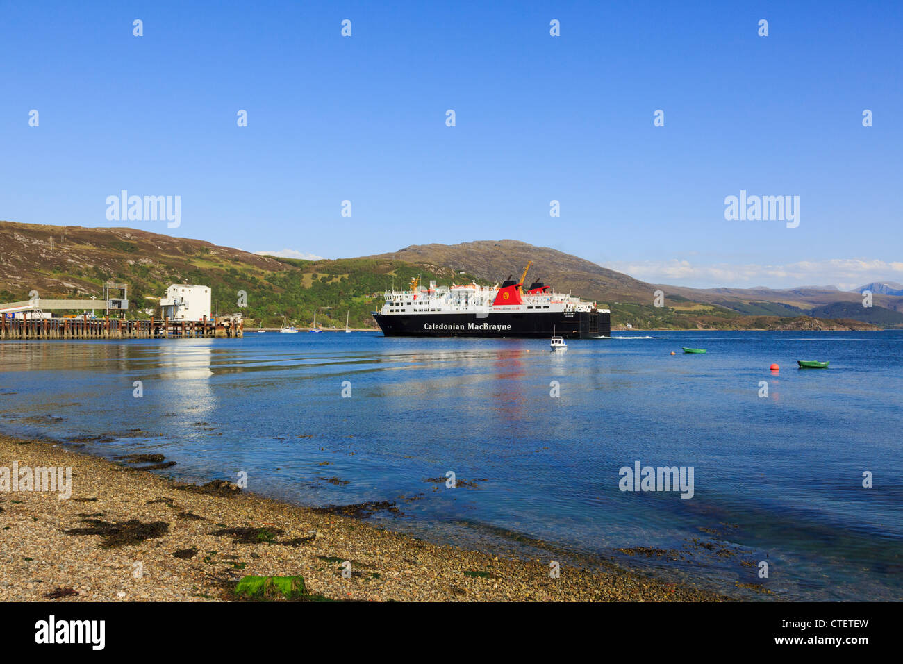 Caledonian MacBrayne ferry from Stornoway Isle of Lewis, sailing into port on Loch Broom Ullapool Wester Ross Scotland - Stock Image