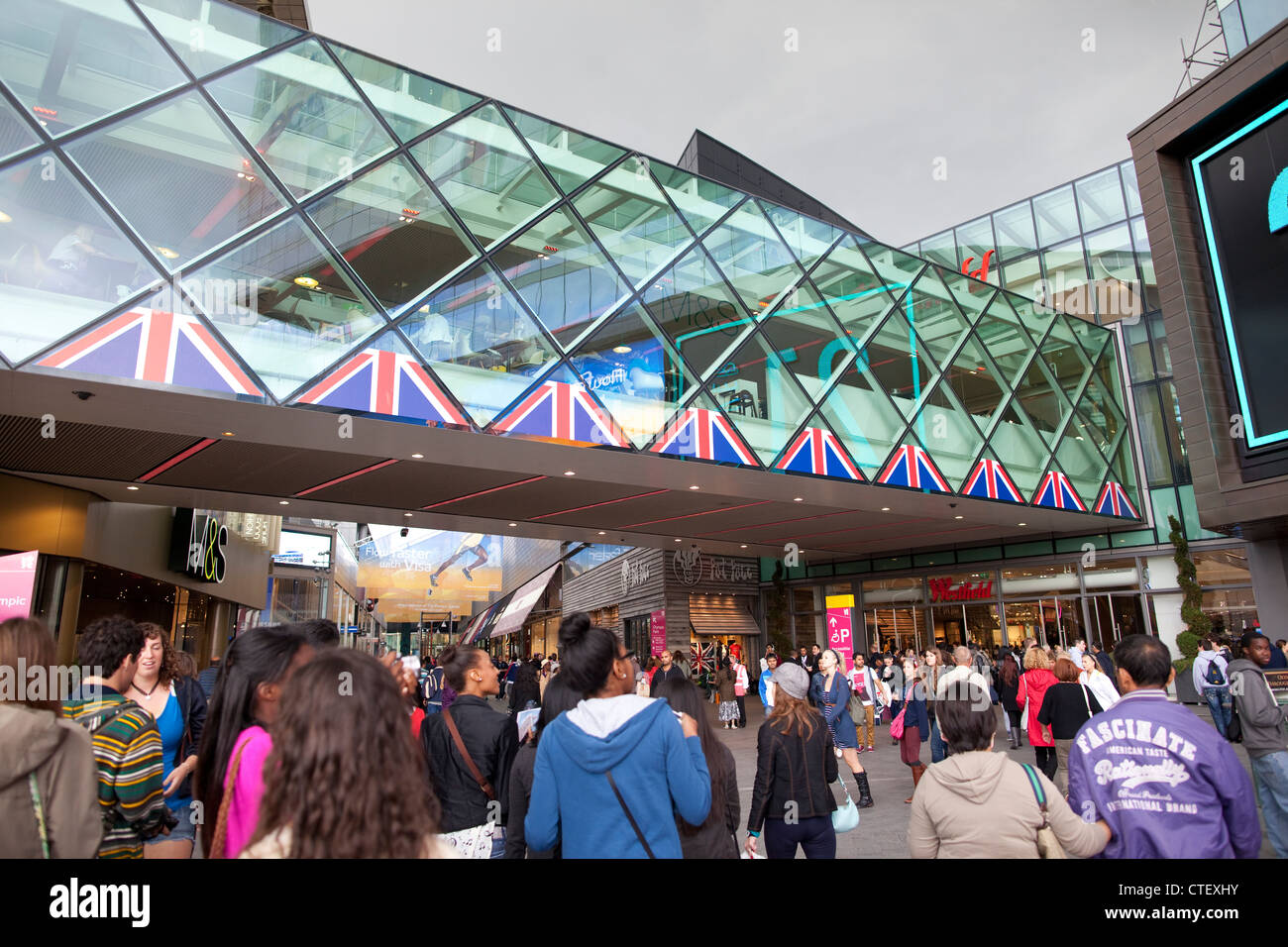 Entrance to a busy Westfield Shopping Centre, Stratford, East London, UK Stock Photo