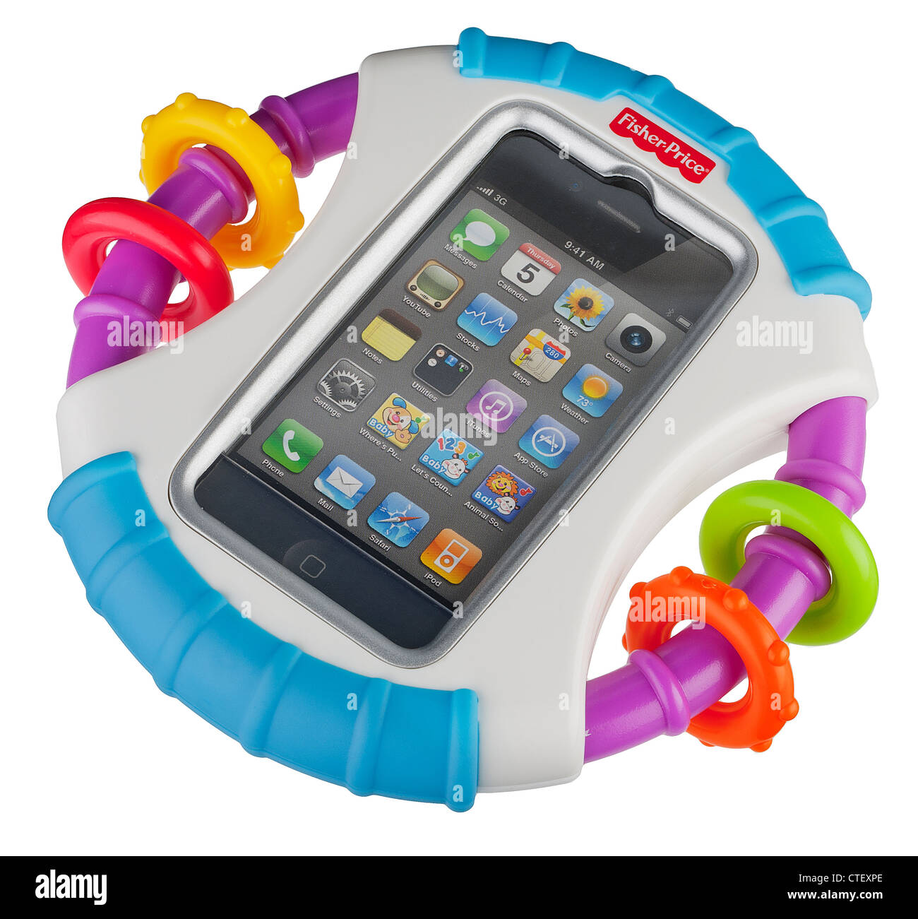 Fisher Price child's rattle with iPhone or iPod holder - Stock Image