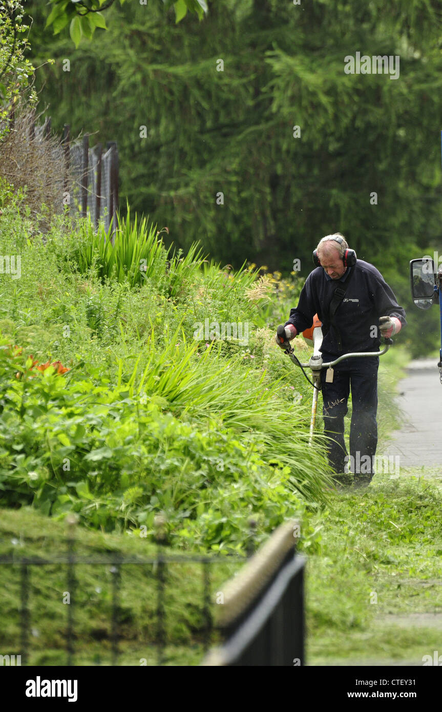 Manchester city council employee using strimmer on path edges - Stock Image