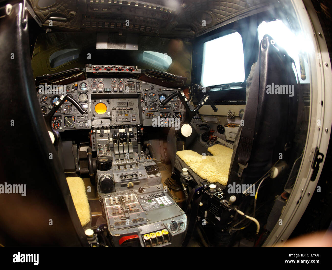 cockpit of the second test concorde - Stock Image