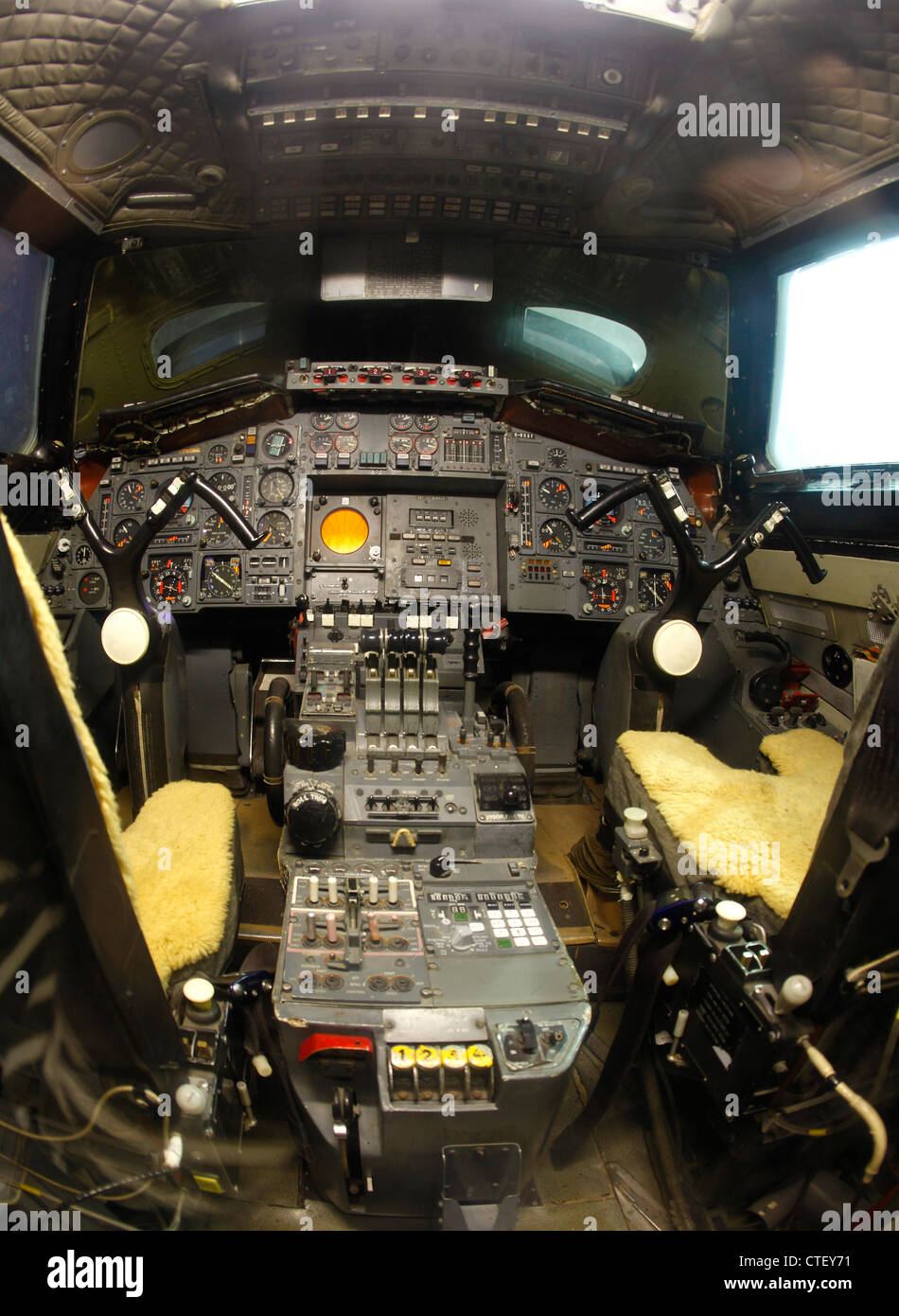 Concorde cockpit of the second test concorde - Stock Image
