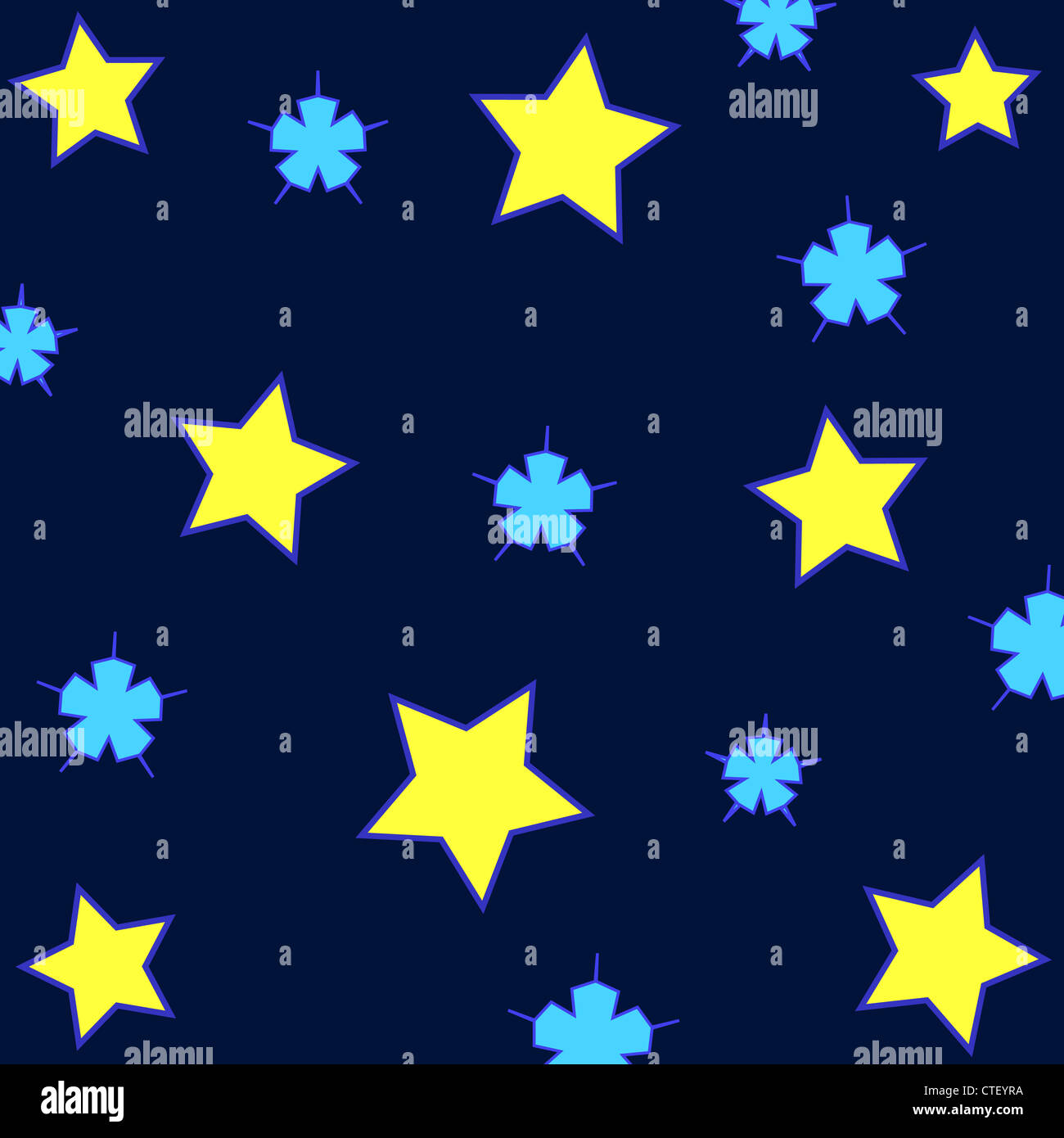 Seamless stars pattern in blue and yellow Stock Photo