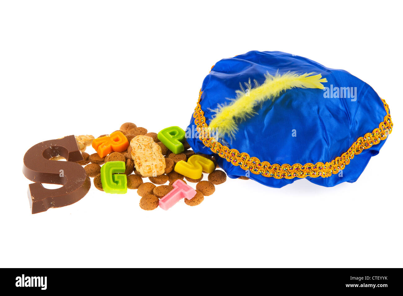 32ba797fb7d51 Traditional Dutch Sinterklaas candy and hat of Black Piet Stock ...