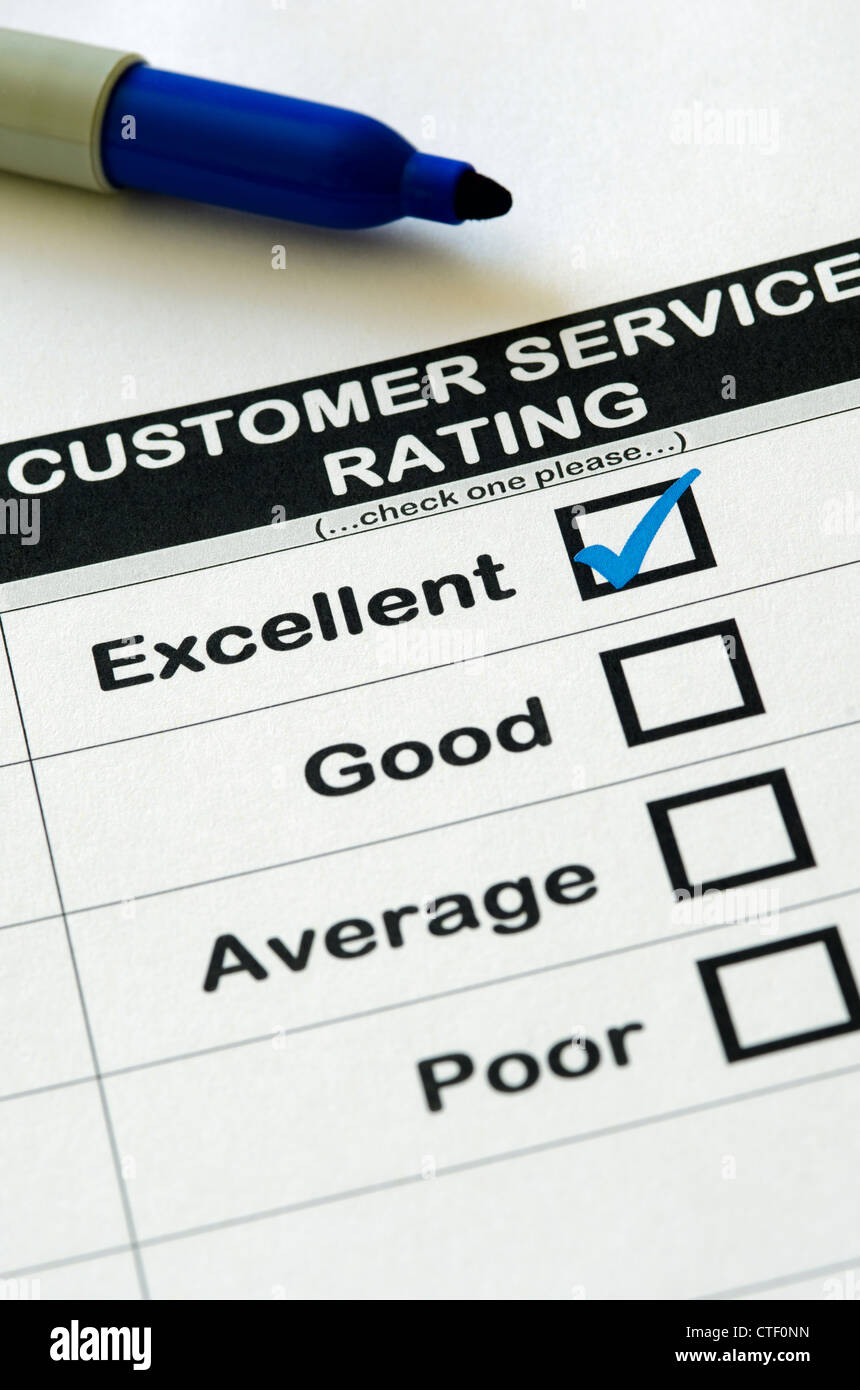 Customer service survey with Excellent rating chosen - Stock Image