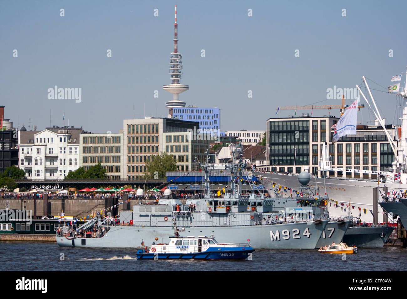 German navy vessel in Hamburg harbor, Germany - Stock Image