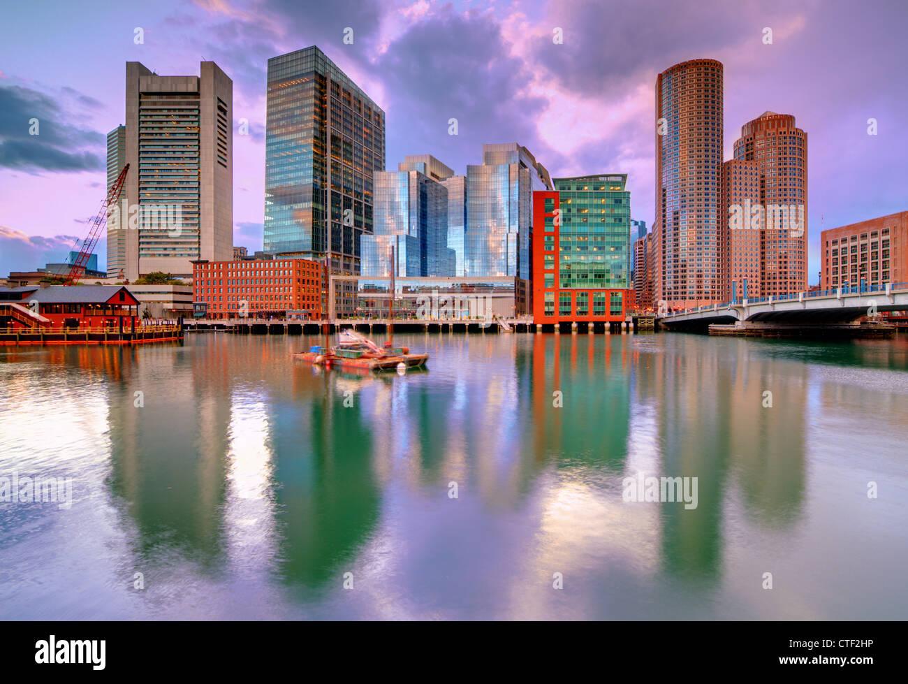 Skyline of downtown Boston, Massachusetts, USA - Stock Image