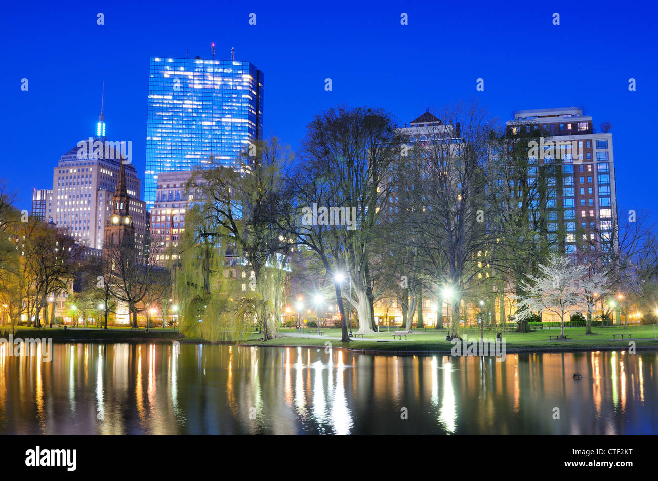 Back Bay skyline from Boston Public Garden in Boston, Massachusetts, USA. Stock Photo