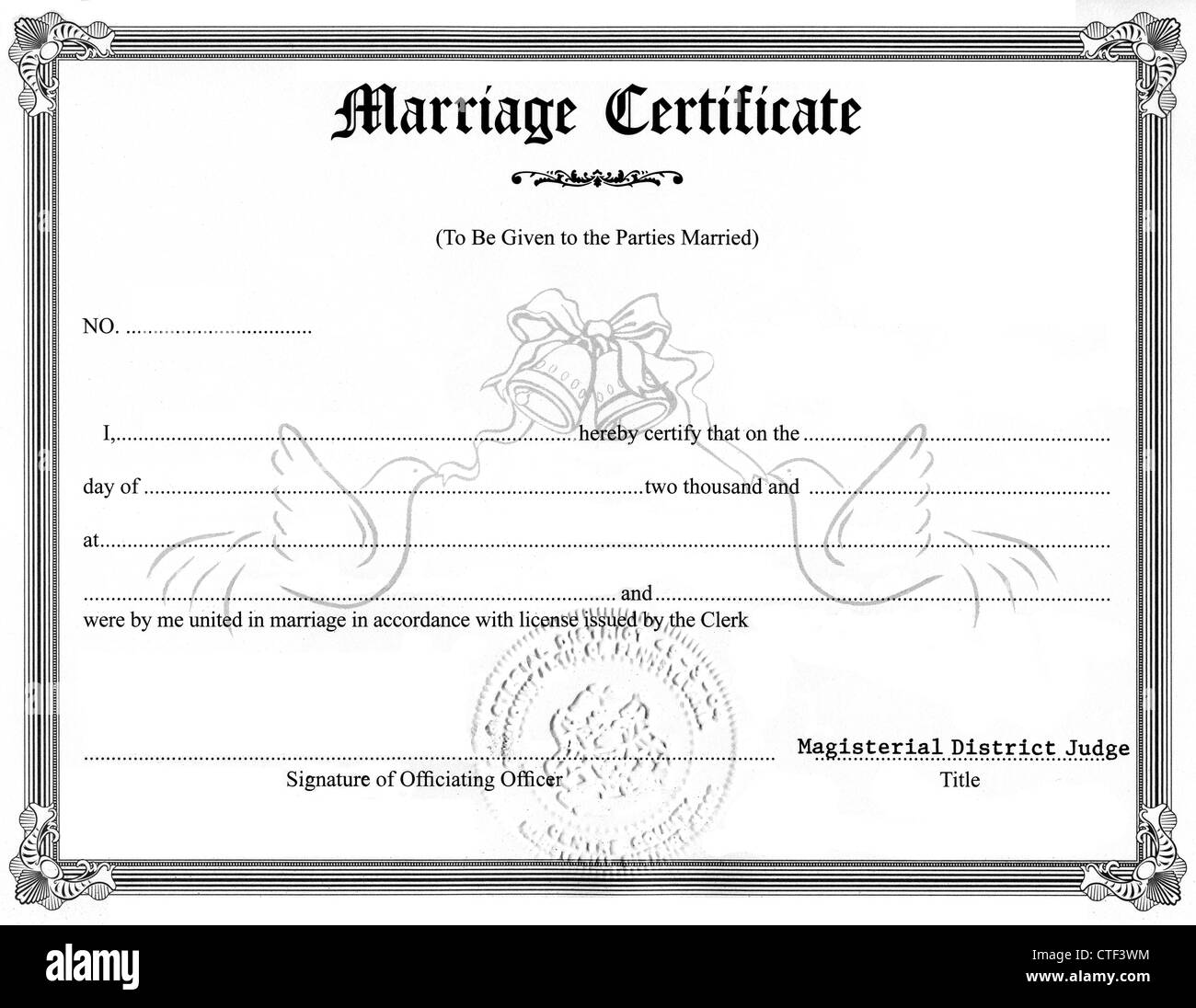 Marriage Certificate Stock Photos Marriage Certificate Stock