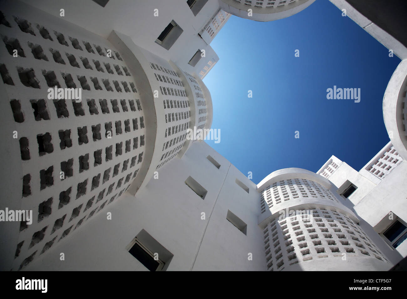 Four interconnected residential buildings - Stock Image