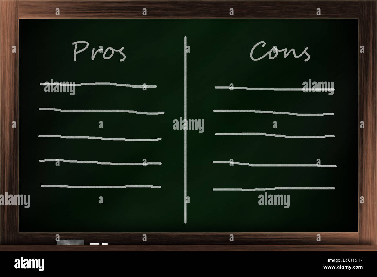 Classroom Chalkboard With Pros Cons List Stock Photo 49506163 Alamy