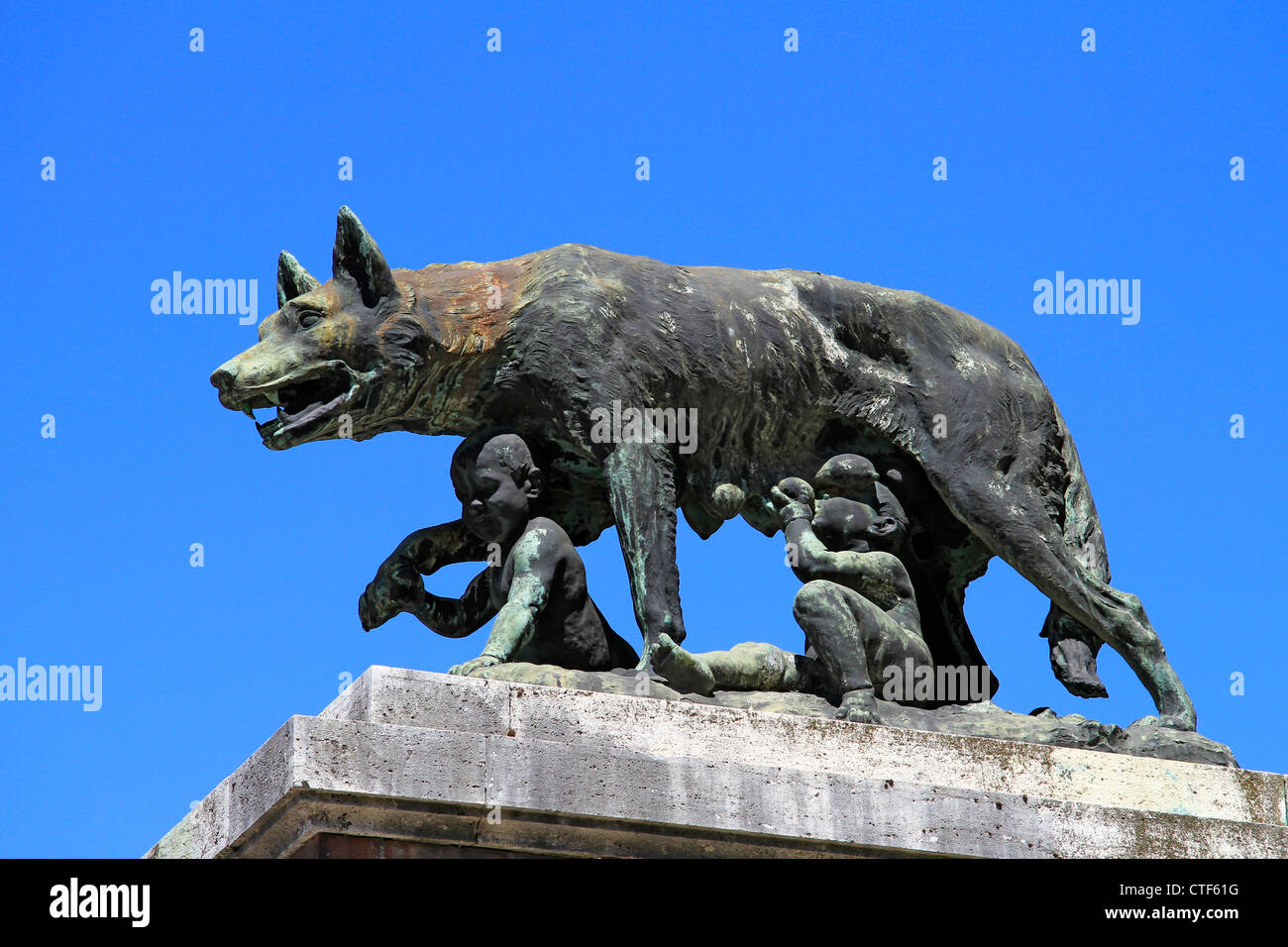 Italy, Tuscany, Siena, she-wolf suckling Romulus and Remus, the city wall - Stock Image