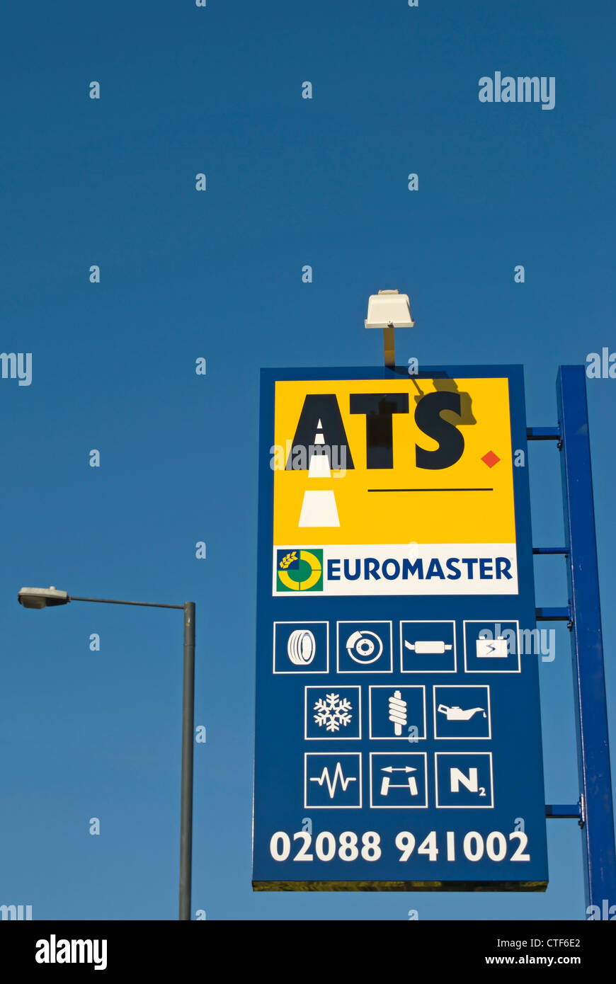 ats euromaster sign at a branch of the car tyre specialists in twickenham, middlesex, england Stock Photo