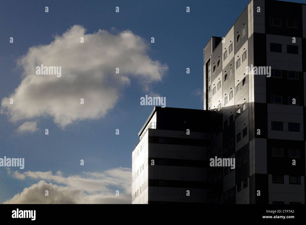 The chequerboard building, Leeds; home to 450 students. - Stock Image