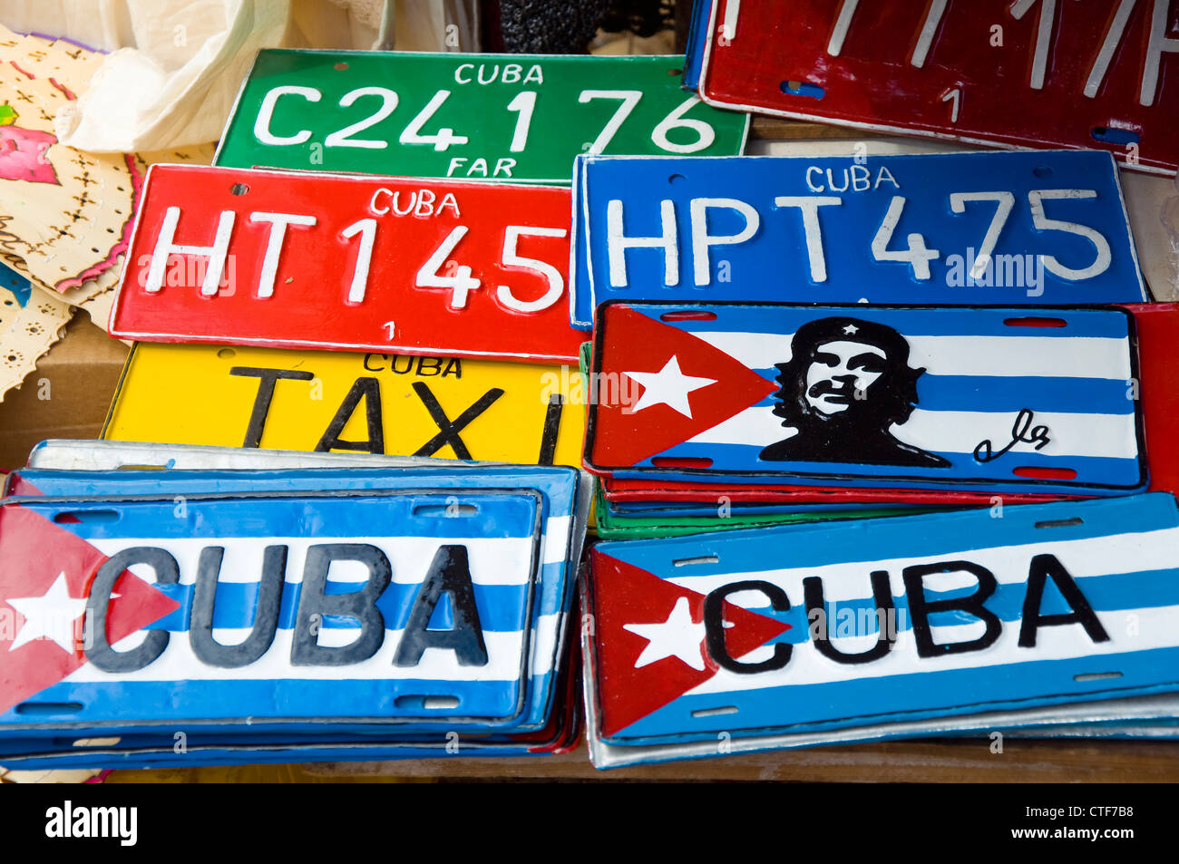 Cuban License Plates, Trinidad, Cuba - Stock Image