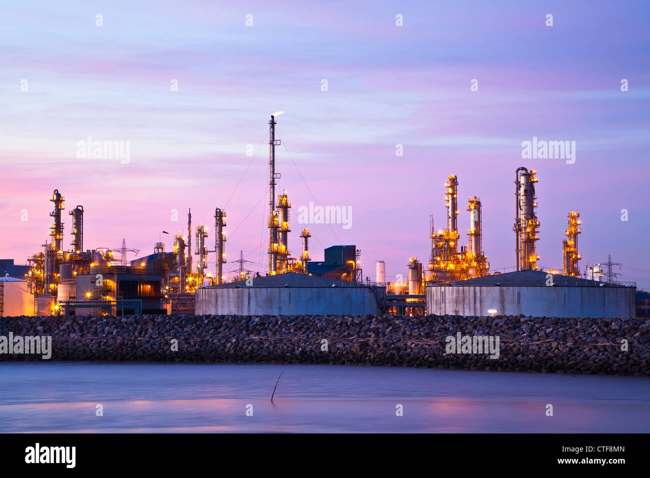 Saltend chemical works from Hedon Havon near Paull, East Yorkshire. - Stock Image