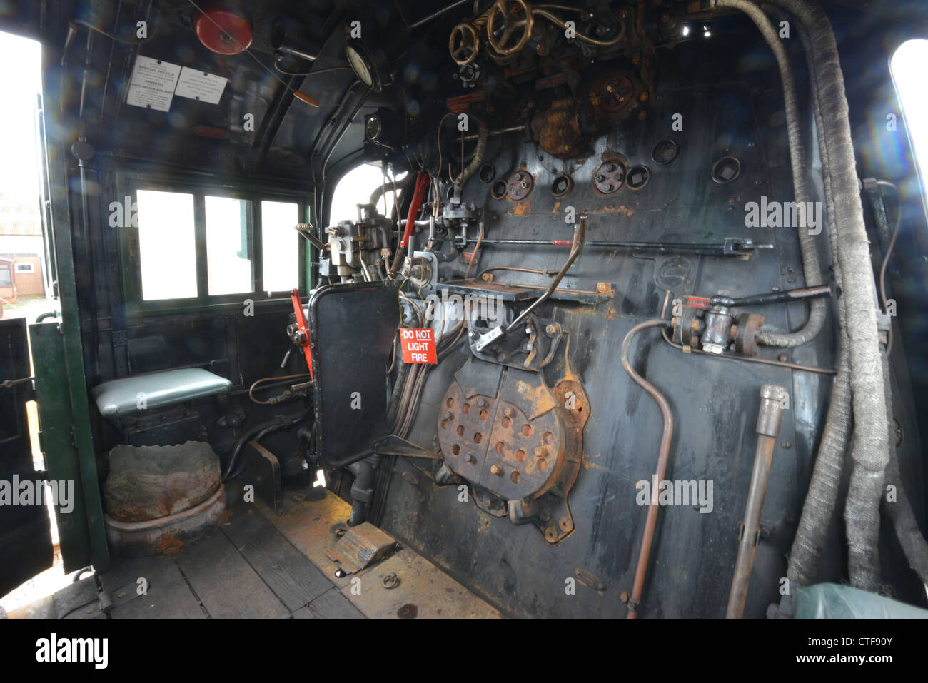 inside the footplate of a steam locomotive stock photo