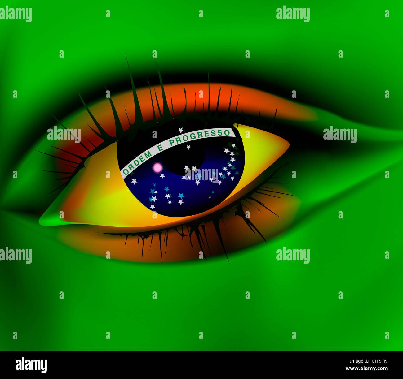 Eye of Brazil concept Brazil world cup 2014 - Stock Image