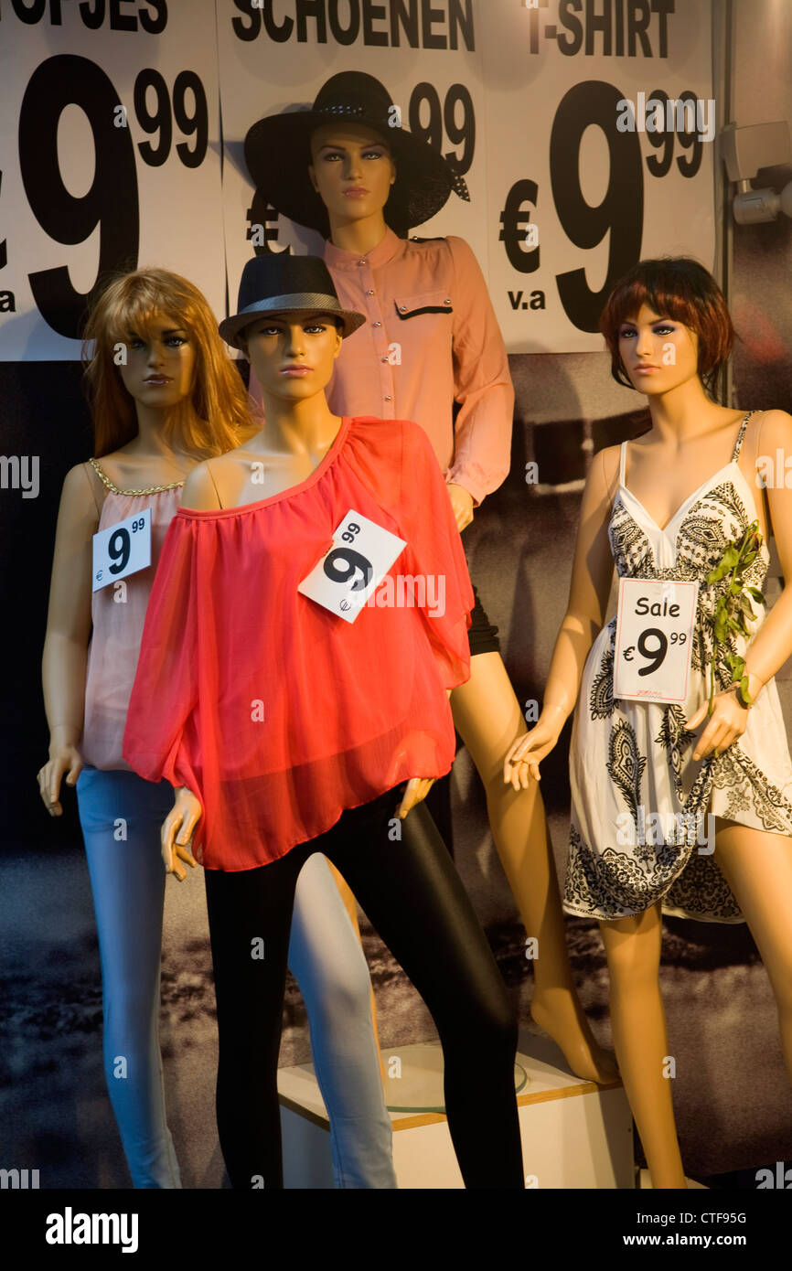 Mannequin models clothes shop display prices Netherlands - Stock Image