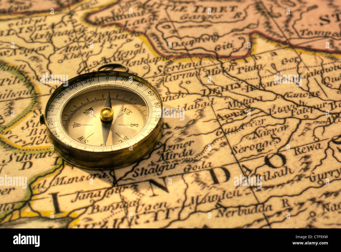 Old compass and map of northern india close to border with pakistan old compass and map of northern india close to border with pakistan gumiabroncs Gallery