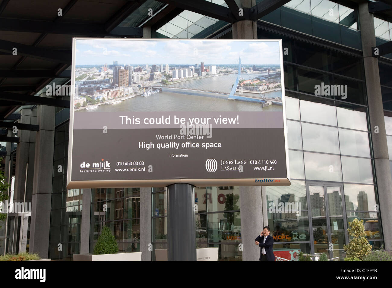 Commercial property office space advertising billboard poster World Port Center Rotterdam Netherlands - Stock Image