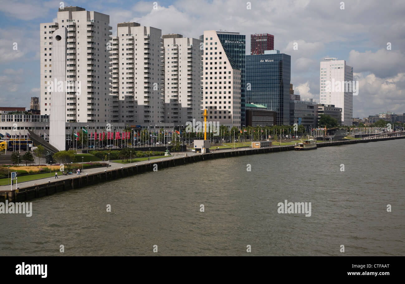 Apartment blocks at Boompjes, waterfront area of central Rotterdam, Netherlands Stock Photo