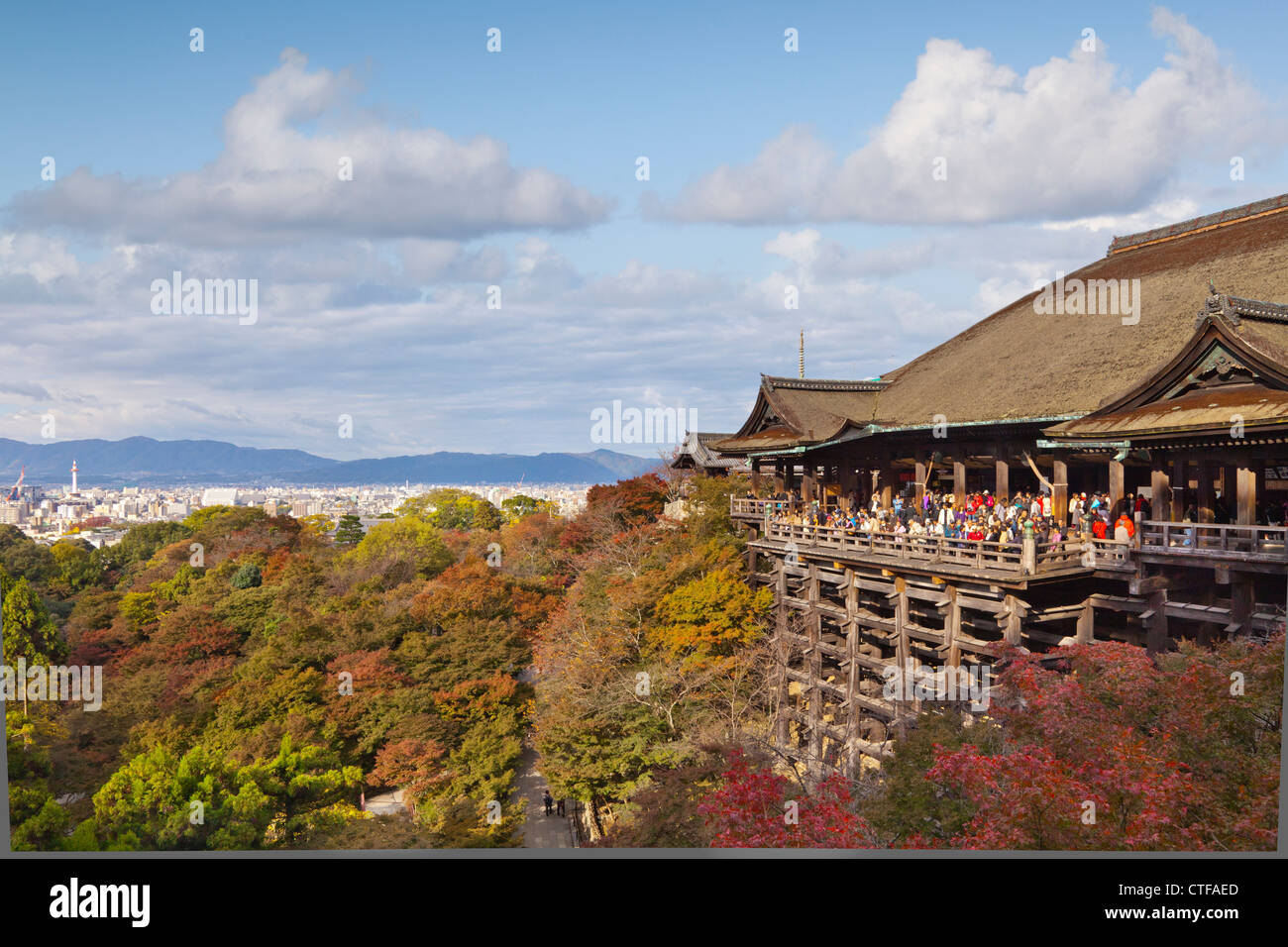 The temple of Kiyomizu-dera in Kyoto is one of japan's most visited sites. - Stock Image