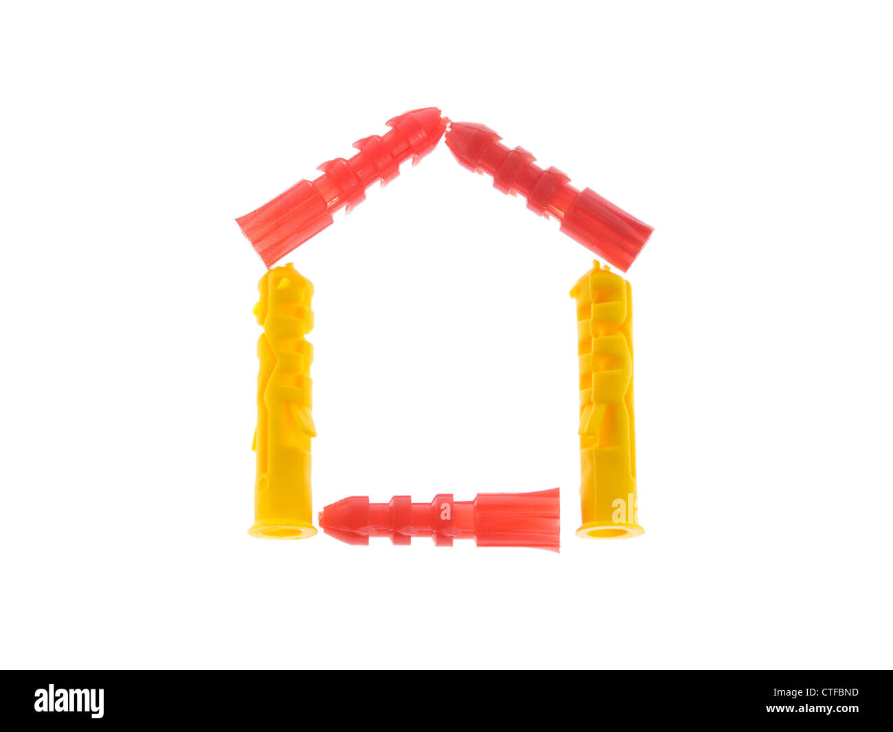 House made of Dowels Isolated on White Background - Stock Image