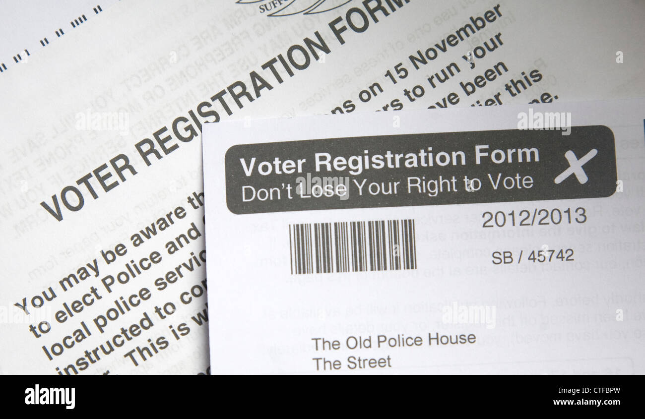 Voter Registration form UK - Stock Image