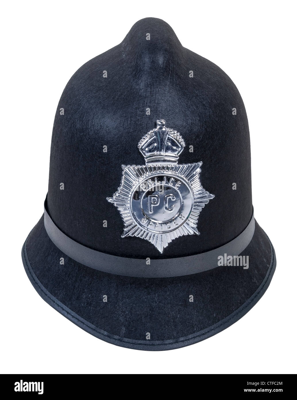 Black English Bobby policeman hat with badge - path included - Stock Image