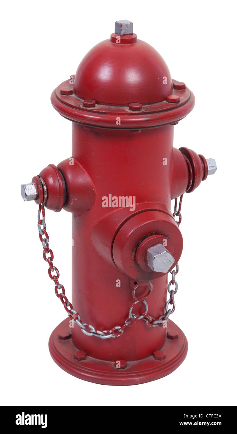 Red fire hydrant used to supply water during a fire emergency - Stock Image
