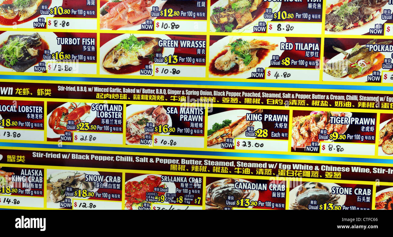Food court menu boards with photos of each dish. - Stock Image