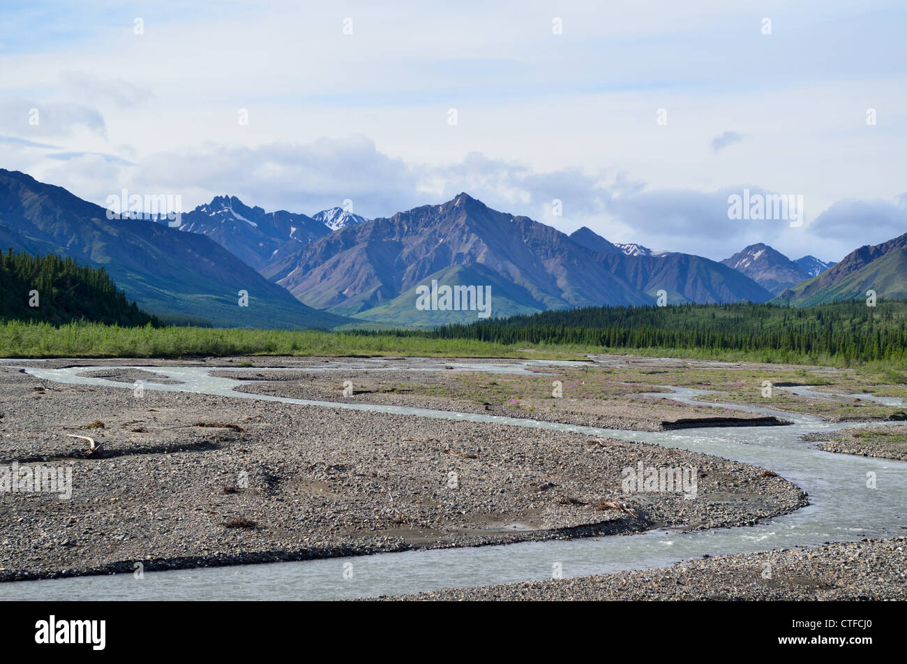 Mountains and rivers at the Denali National Park and Wildness Preserve. Alaska, USA. - Stock Image
