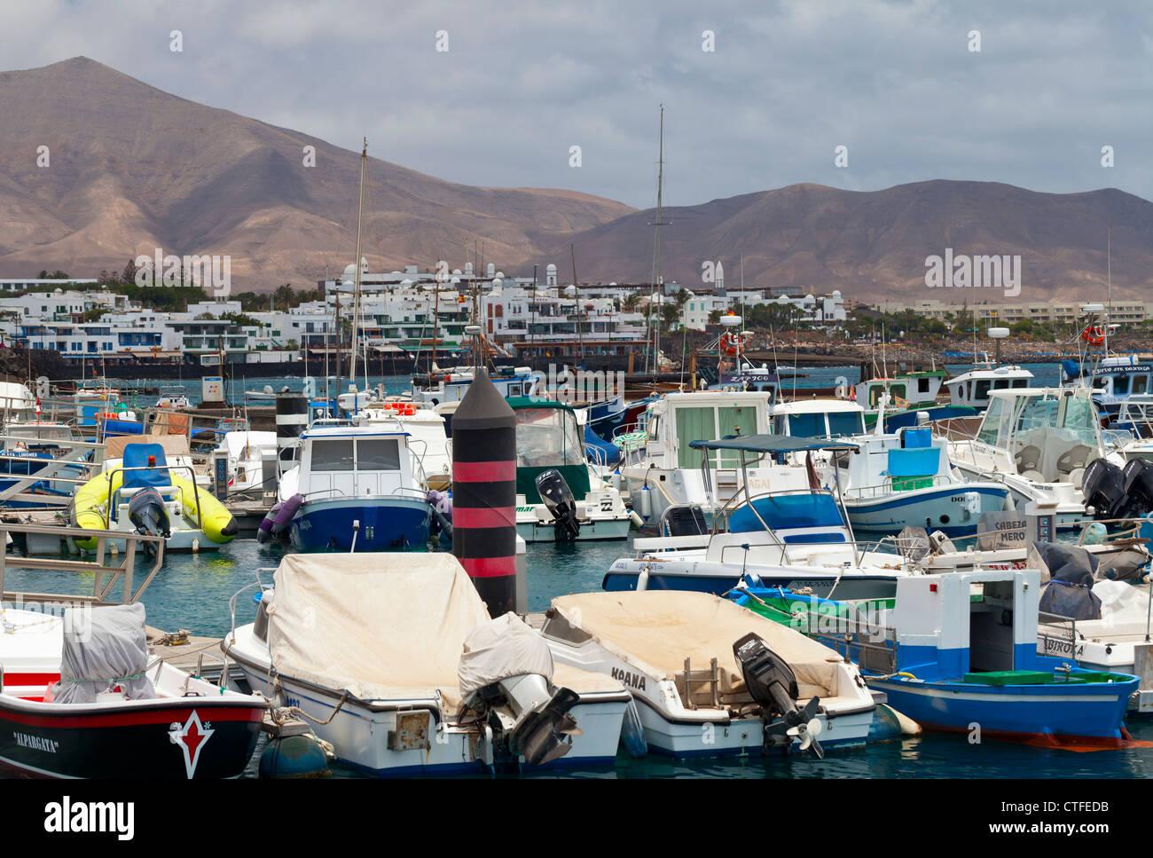 Playa Blanca harbour - Playa Blanca, Lanzarote, Canary Islands, Spain, Europe - Stock Image
