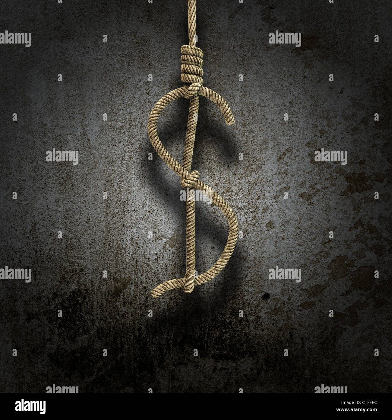 Hangman's knot shaped like a dollar sign - financial depression concept - Stock Image