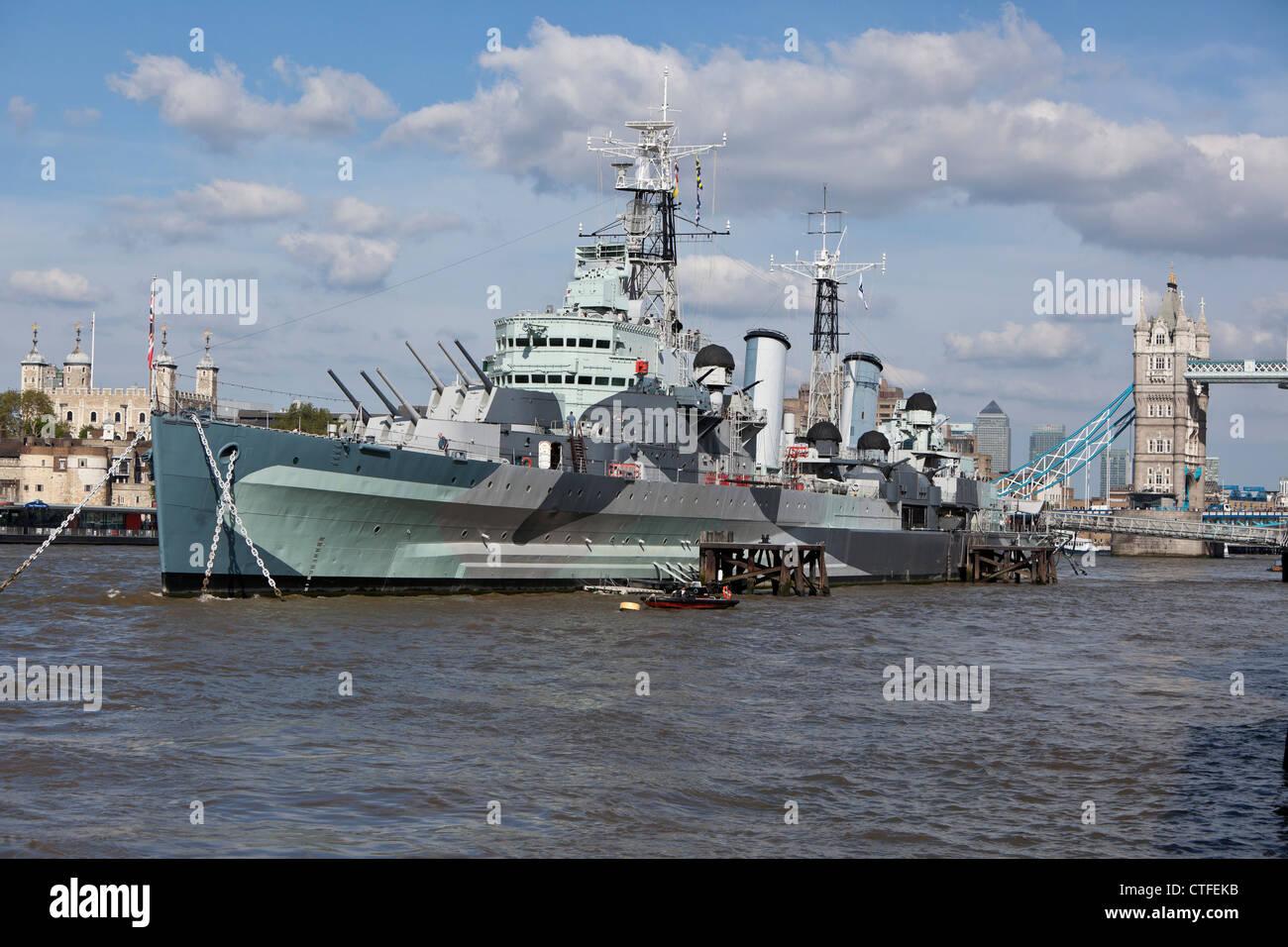 HMS Belfast (C35) museum ship, Southwark, London, England, UK - Stock Image