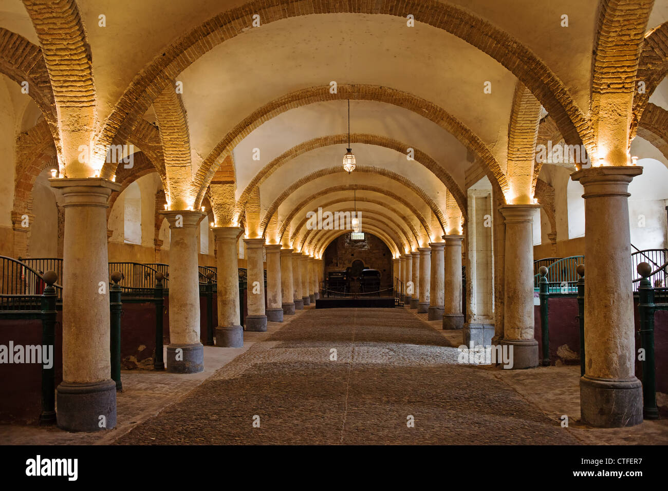 Arched interior of the 16th century Royal Stables in Cordoba, Andalusia, Spain. - Stock Image