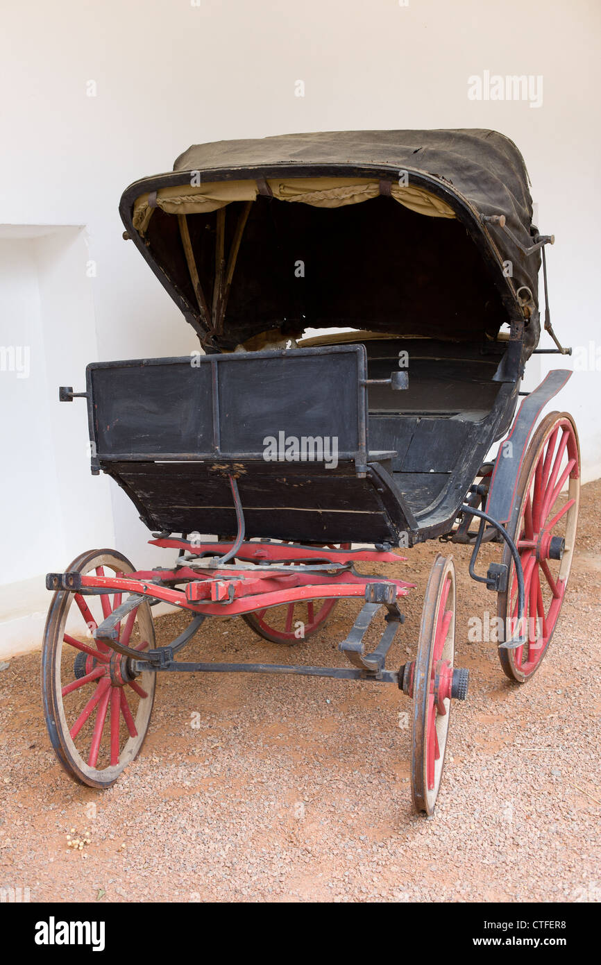 An old, historic horse carriage, Spanish Andalusian style. - Stock Image