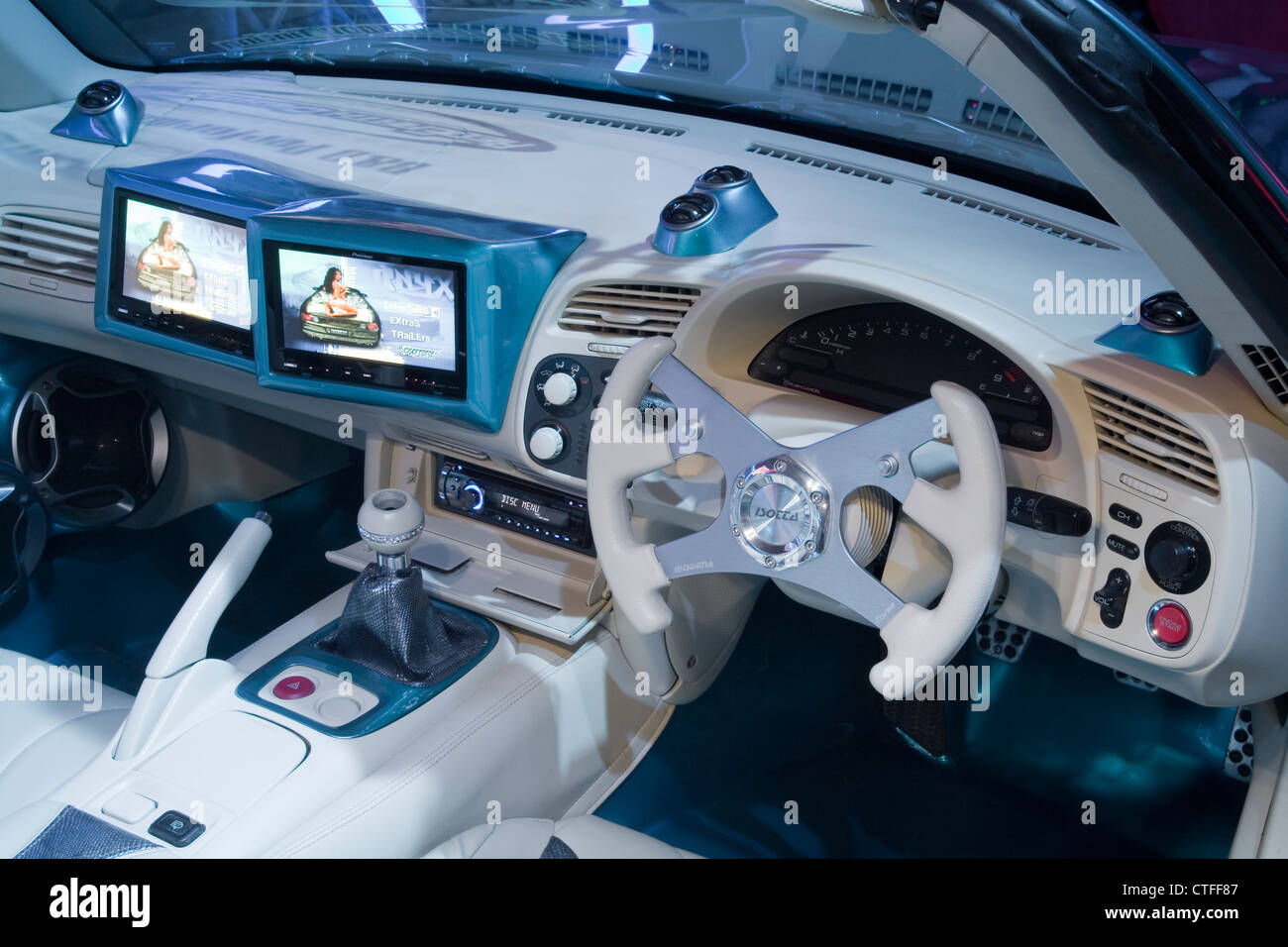 Heavily modified and customized cabin interior of a Boy Racer Honda ...