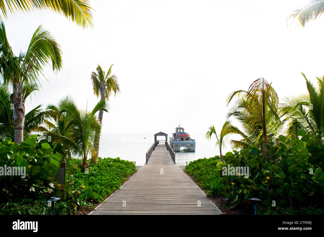 Caribbean West Indies St. Kitts and Nevis - Four Seasons Hotel and Resort on Nevis dock Stock Photo