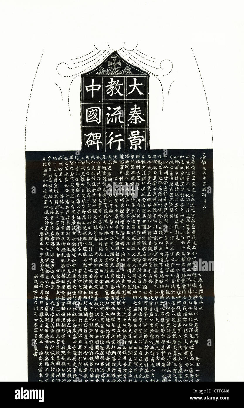 This rubbing, dating to A.D. 781, shows the celebrated Christian Inscription on a large stone monument in Singanfu, - Stock Image
