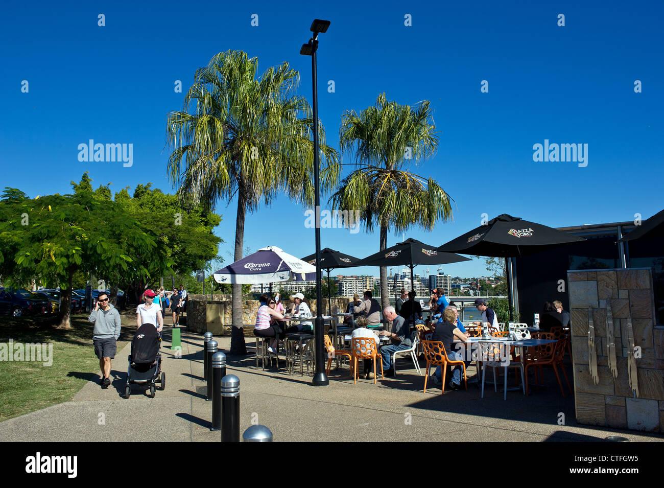 A cafe at Kangaroo Point in Brisbane Australia - Stock Image