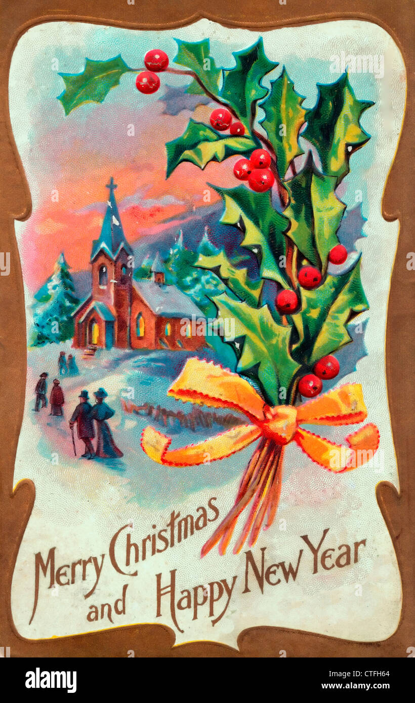 Vintage Merry Christmas.Merry Christmas And Happy New Year Vintage Card Stock
