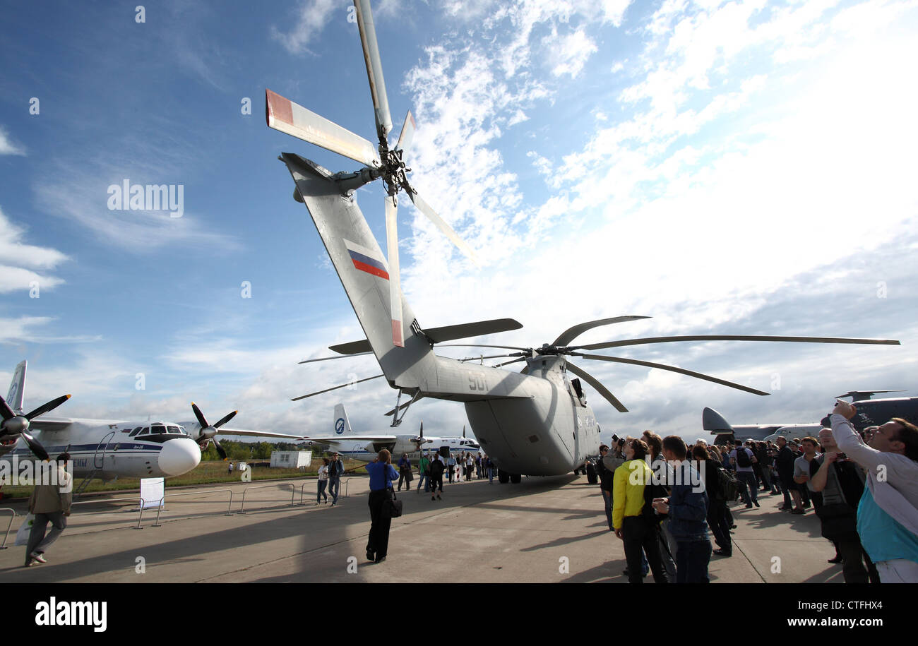 Helicopter Mil Mi-26T2 Halo (The international aerospace salon MAKS-2011) - Stock Image