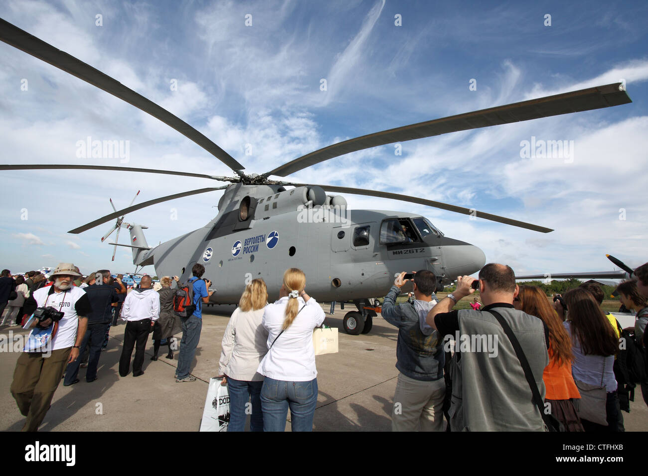 Helicopter Mil Mi-26T2 Halo (The international aerospace salon MAKS-2011 - Stock Image